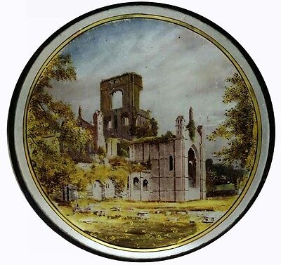 Rare Victorian Antique Painted Stained Glass Roundel FOUNTAINS Abbey YORKSHIRE