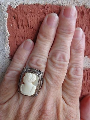 VINTAGE ART DECO STERLING SHELL LADY CAMEO SILVER PANSY FLORAL FILIGREE RING sz7