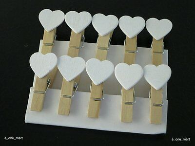50pcs Mini Wooden White Love Heart Pegs Photo Paper Clips Wedding Decor Craft