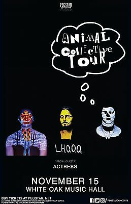 "Animal Collective / Actress ""L.h.o.o.q."" 2016 Houston Concert Tour Poster"