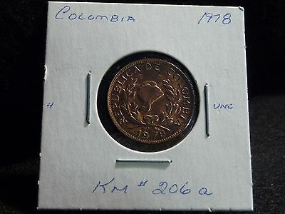 COLOMBIA : 1978   5  CENTAVOS   COIN    (UNC.)  (#2749)  KM  # 206a