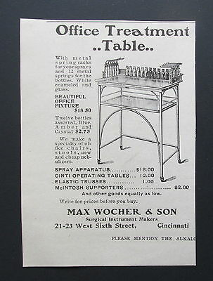 1901 Antique Ad Max Wocher Doctor Office Treatment Table Prices (Q3)