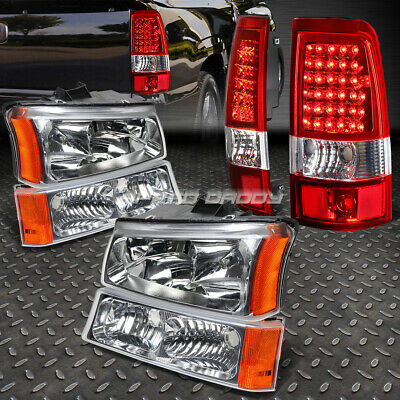 Chrome Crystal Headlight+Bumper+Red Led Tail Light For 03-07 Chevy Silverado