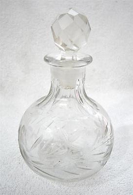 Antique Vintage Hand Cut Glass Cologne Perfume Bottle
