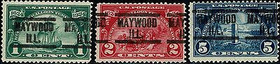 #614-16 1924 1c TO 5c HUGUENOT-WALLOON ISSUES-USED-ALL PRECANCELED MAYWOOD, IL.