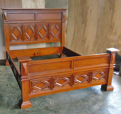 DOPPELBETT, US-AMERIKA HERRENHAUS-STIL 'MANOR WALNUT BED' KOLONIAL BETT massiv