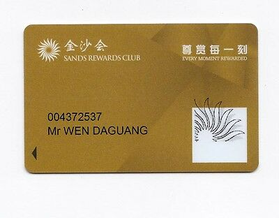 Macau Sands Rewards Club Casino Hotel NEW slot Card RARE