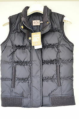 Juicy Couture Weste Jacke Regal Ruffle Puffer Vest d-blau gr 10 LP 149€ Pos 123