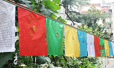 10Ft. Long! Tibetan Wind Horse Prayer Flag 10 Pcs : Golden Sutra Of 21 Tara