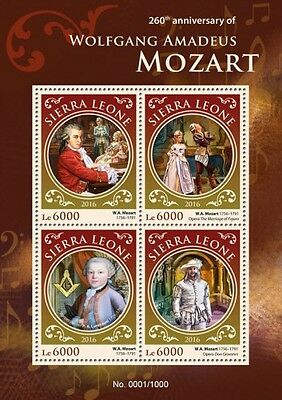 SIERRA LEONE Wolfgang Amadeus Mozart SRL16210a 2016 MNH STAMP