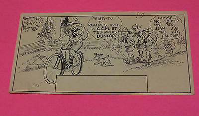 1940s -50s C.C.M DUNLOP TIRES CARTOON INK BLOTTER IN FRENCH  FRISE ART WORK #3