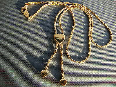 14K Yellow Gold Lariat Necklace With Hearts From Italy 6 Grams