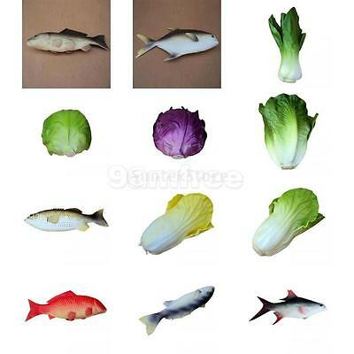 Real Size Artificial Vegetables Fish Toys Fake Food Replica Home Kitchen Display
