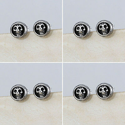 Wholesale Lot 4 Pair Stainless Steel Fashion Punk Skull Signet Ear Stud Earrings