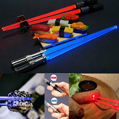 Star Wars Light Up Lightsaber Chopsticks set Darth Vader & Luke Skywalker Koto