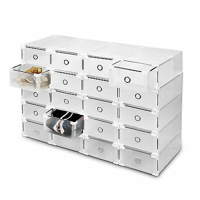20 Plastic Drawer Shoe Storage Box Clear Stackable Organiser Transparent Folding