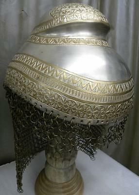 Antique  Sikh  Indian Warrior Helmet Silver Bump Top Documented War Cataloged