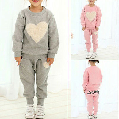 2pcs Girls Kids Sweet Heart Clothes Tracksuit Top+Pant Outfits Casual Suit Set