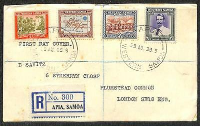 Western Samoa #181-184 Stamps Registered Fdc First Day Cover To England 1939