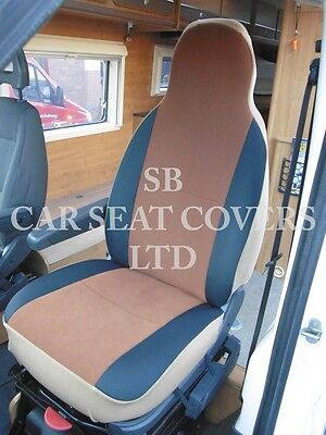 To Fit A Ford Transit Motorhome, 2007, Seat Covers, Tan Suede Mh-001, 2 Fronts