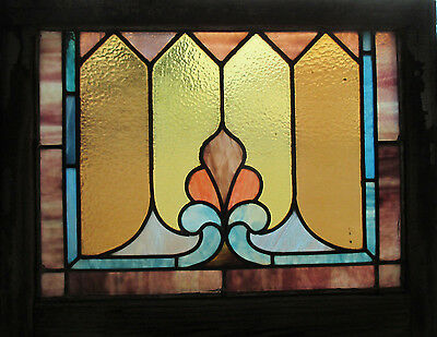 ANTIQUE AMERICAN STAINED GLASS WINDOW 25 x 20 ~ ARCHITECTURAL SALVAGE~