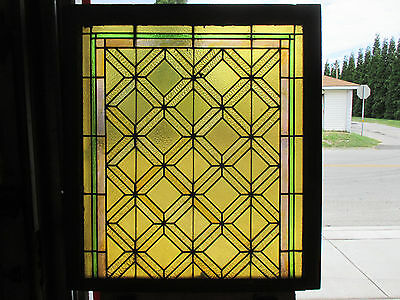 ~ Antique American Stained Glass Window ~ 39 X 43 1 Of 2~ Architectural Salvage
