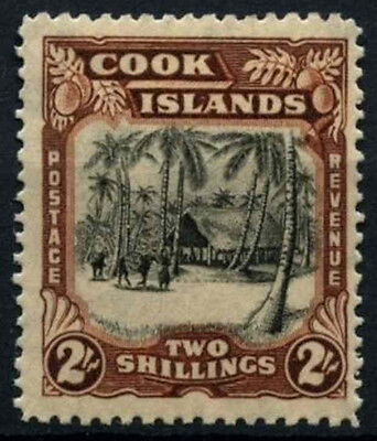 Cook Islands 1944-6 SG#144, 2s Black And Red Brown Wmk Sideways MH #D30441