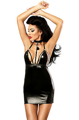Sexy Wetlook Kleid Schwarz Lack Look Minikleid Neckholder Party Dress  S/M  L/XL
