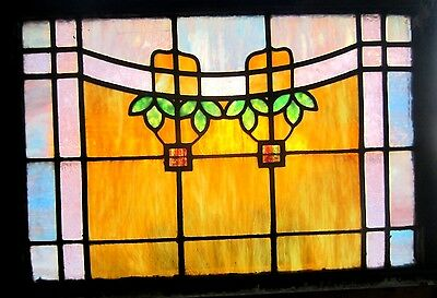 ~ ANTIQUE AMERICAN STAINED GLASS WINDOW ~ 32.25 x 23.25 ARCHITECTURAL SALVAGE ~