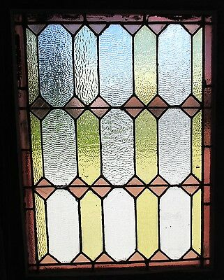 ~ ANTIQUE AMERICAN STAINED GLASS WINDOW ~ 28.5 x 35.75 ~ ARCHITECTURAL SALVAGE ~