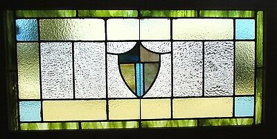 ~ ANTIQUE AMERICAN STAINED GLASS WINDOW ~ 42 x 22 ~ ARCHITECTURAL SALVAGE ~