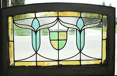 ~ ANTIQUE AMERICAN STAINED GLASS TRANSOM WINDOW ~ 32x21 ~ ARCHITECTURAL SALVAGE