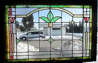 ~ Antique American Stained Glass Window Arts & Crafts ~ Architectural Salvage ~