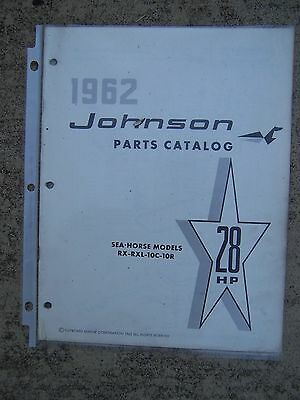 1962 Johnson Sea Horse 28 HP RX RXL 10C 10R Outboard  Motor Parts Catalog Boat L