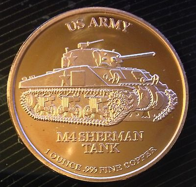1 Oz Copper Round Us Army M4 Sherman Tank