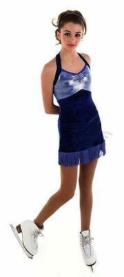 NEW COMPETITION SKATING DRESS Elite Xpression Blue 1524  ADULT SIZE SMALL