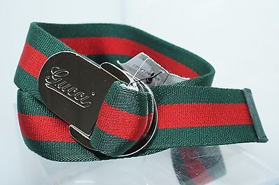 Gucci Men's Belt Unisex Logo Red Green Ribbon Size 42 105 Signature Buckle NWT