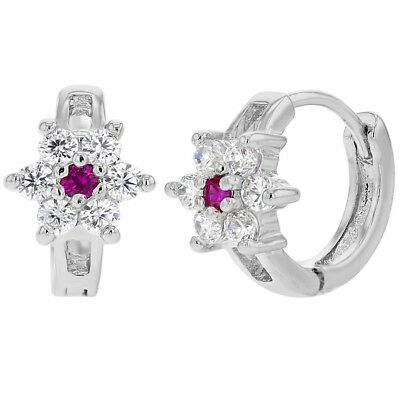 Rhodium Plated Pink Clear Flower CZ Tiny Huggie Hoop Little Girls Earrings 7mm