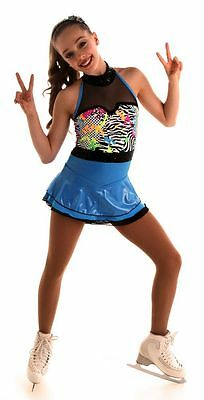 NEW COMPETITION SKATING DRESS Elite Xpression Blue Zebra 1547 SIZE ADULT SMALL