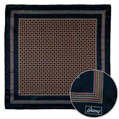Men's BRIONI Black Pink Gold Swirl Silk Hand Rolled Pocket Square Handkerchief