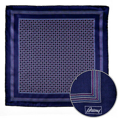 Mens BRIONI Navy Purple Swirl Silk Hand Rolled Pocket Square Handkerchief Hanky