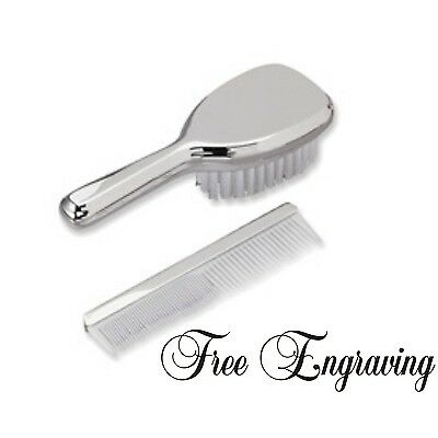 Baby Brush & Comb Set Personalized Silver Nickel Plated Girls Gift Engraved Free