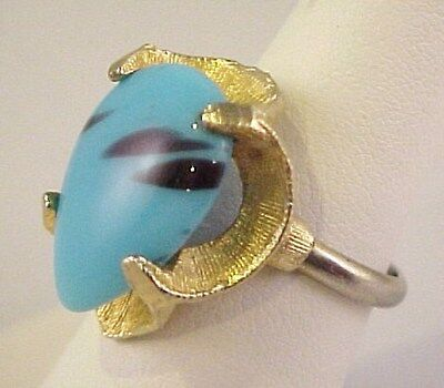 Vintage Blue Pear Shaped Glass GoldTone Ladies Adj Ring 6.75 Chalcedony BuffTop