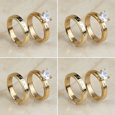 Wholesale Lot 4 Pair Stainless Steel Women Band Gold CZ Wedding Finger Rings Set