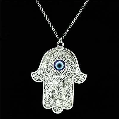 16-4 Silver 62mm Acrylic Evil Eye Hamsa Hand Pendant Collar Choker Necklace 18""