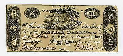 1819 $3 The Central Bank - Cherry Valley, NEW YORK (CTFT.) Note