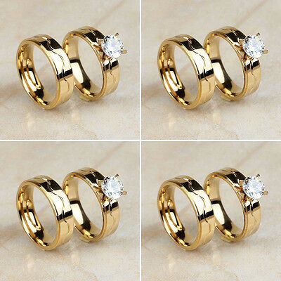 Wholesale Lot 4 Pair Stainless Steel Cubic Zirconia Gold Wedding Band Rings Set