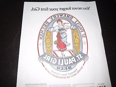 Vintage 1982 St. Pauli Girl Beer IRON ON TRANSFER for T-Shirt - Never used
