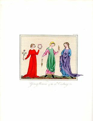 WOMEN 13TH CENTURY DRESS FASHION 1840s Medieval Antique Art Print bhn#7