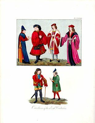 COURTIERS 15TH CENTURY COSTUMES 1840s Medieval Antique Art Print bhn#35